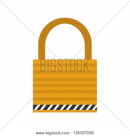 yellow striped safety lock vector illustration flat style design