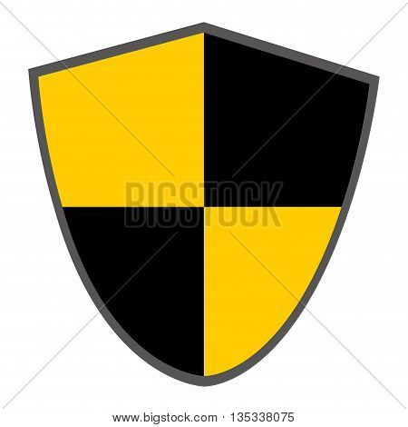 pointy shield with black and yellow squares vector illustration