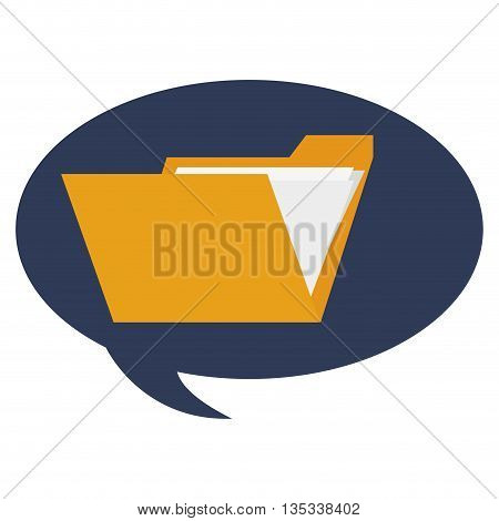 conversation bubble with folder with paper documents inside in the center vector illustration
