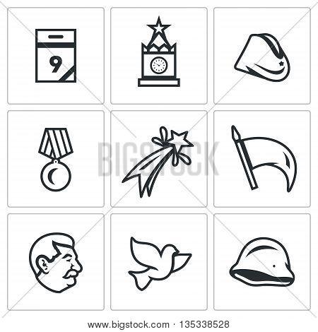 Calendar, kremlin, tower, soldier field cap, medal, fireworks, flag, veteran, dove of peace, helmet.
