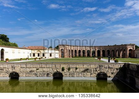 MANTUA ITALY - APRIL 28 2016: Palazzo Te in Mantua is a major tourist attraction. It is a fine example of the mannerist style of architecture the acknowledged masterpiece of Giulio Romano.