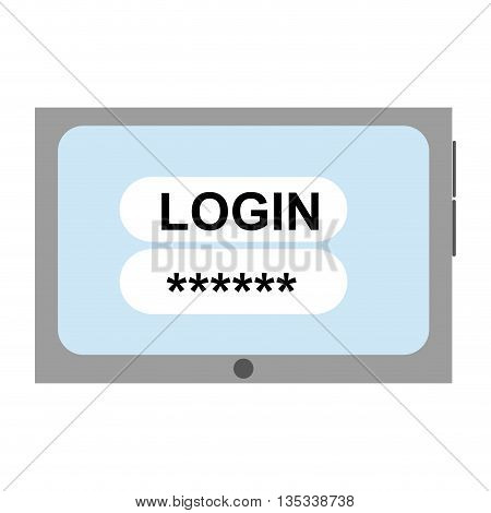 cellphone with login and password on screen vector illustration
