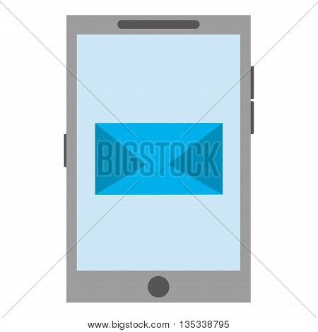 cellphone with blue envelope on screen vector illustration