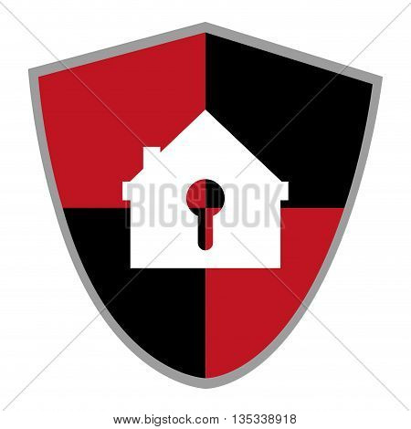 red and black shield with house shaped safety lock in the center vector illustration