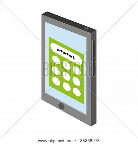 cellphone with password on screen vector illustration