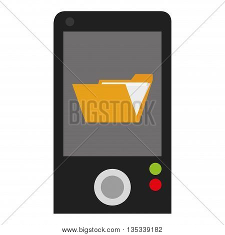 cellphone with open yellow folder on screen vector illustration