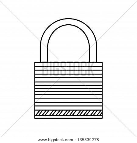 simple black line safety lock vector illustration