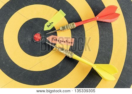 Words data integration with dart target run in to bullseye over dartboard background Data integration concept