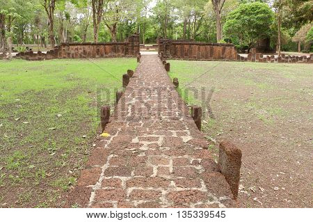 old laterite Walkway in historical park, Thailand