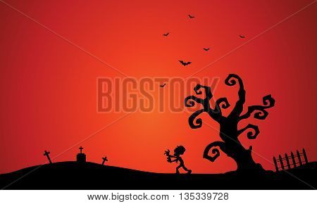 Scenery with Halloween zombie and bat in tomb