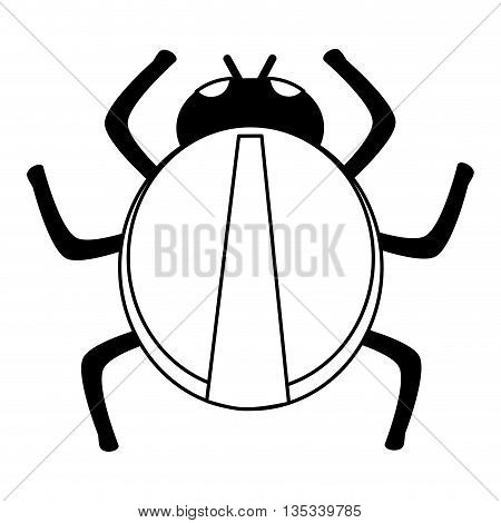 black line round bug vector illustration flat style design