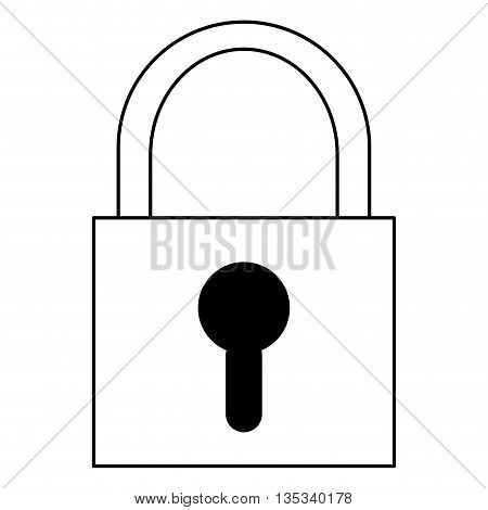 simple black line safety lock with keyhole on front vector illustration
