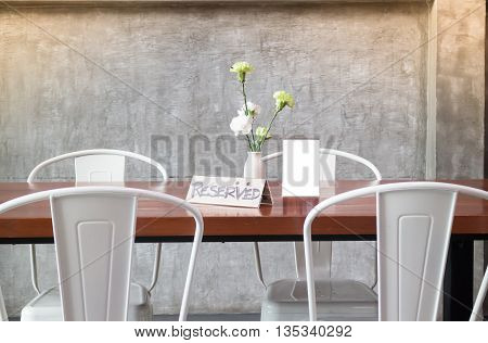 Mock up frame on table in bar restaurant cafe stock photo