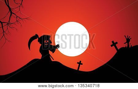 Silhouette of warlock halloween in tomb full moon background