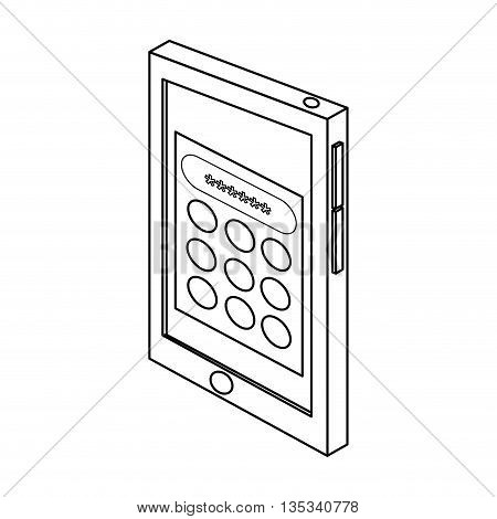 cellphone with password login on screen vector illustration