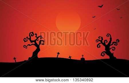 Silhouette of dry tree tomb halloween illustration