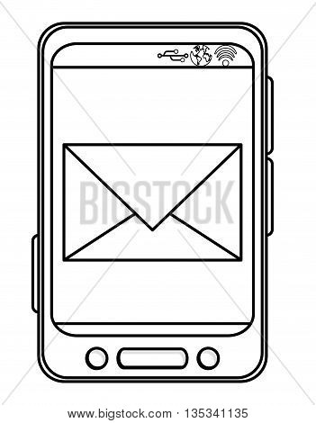 simple black line cellphone with three buttons in the bottom and three buttons to the side with envelope on the screen vector illustration