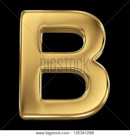 Golden shining metallic 3D symbol letter B - isolated on black