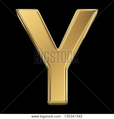 Golden shining metallic 3D symbol letter Y - isolated on black