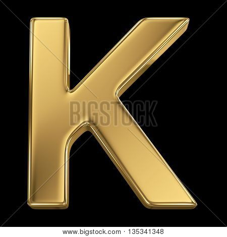 Golden shining metallic 3D symbol letter K - isolated on black