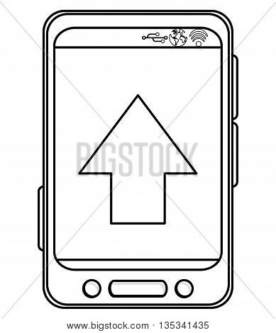 simple black line cellphone with three buttons in the bottom and three buttons to the side and big arrow pointing up on screen vector illustration