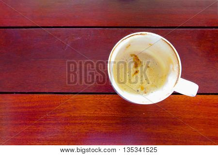 Delicious cup until completely empty coffee cup on wood table