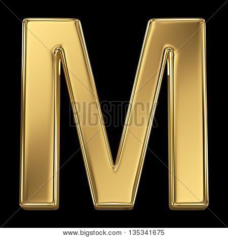 Golden shining metallic 3D symbol letter M - isolated on black