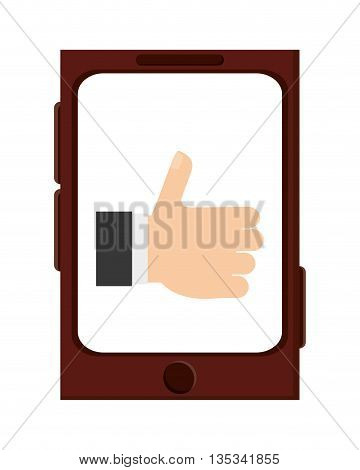 cellphone with caucasian hand raising thumb up on screen vector illustration