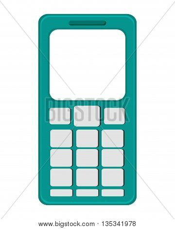green cellphone with buttons below the screen vector illustration