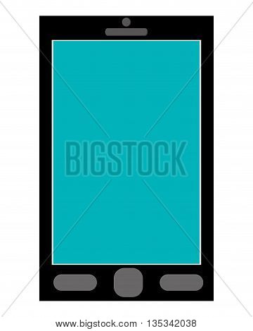 black cellphone with three buttons below the blue screen vector illustration