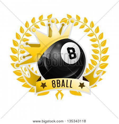 Vector Design Billiards, pool and snooker sport icon. Poolroom emblems design with balls, laurel wreath and golden crown. Vector Illustration. Isolated on White.
