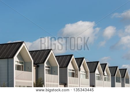 row of new houses with copy space