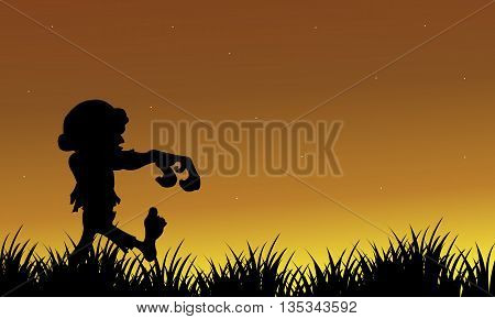 Silhouette of zombie walking Halloween scary illustration