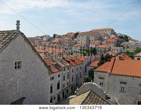 Bird's eye view of Old Town Dubrovnik along Dalmatian coast