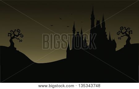 Silhouette of Halloween big castle very scary illustration