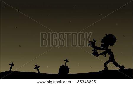 Scary zombie Halloween silhouette vector art illustration