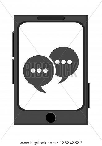 icon of smartphone with bubble speech on flat style, vector design