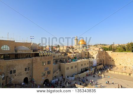 Jerusalem/ Israel - 23-05-2015: Wailing wall and Al Aqsa Israel