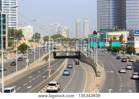 Tel-aviv, Israel - January 22, 2016: Street Traffic On Menachem Begin