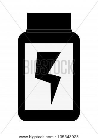 simple black and white dietary supplement with lightning bolt in the center vector illustration