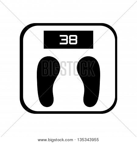 simple black and white digital weight scale vector illustration