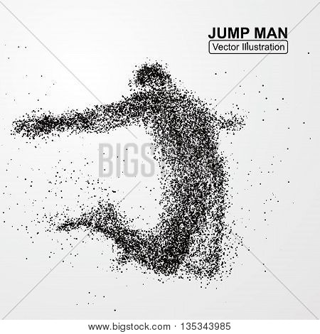 Jump man, vector graphics, composed of particles.