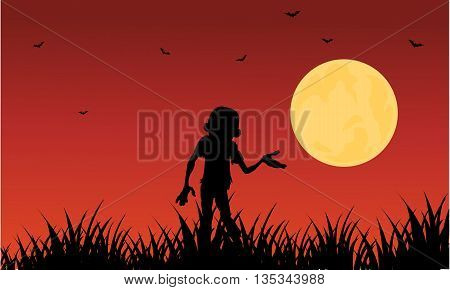 Halloween zombie silhouette on red backgrounds illustration