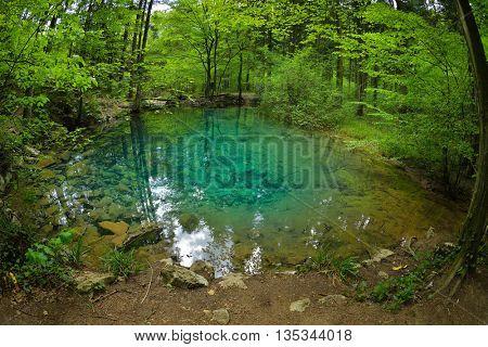 beautiful pond in the woods, Ochiul Beiului, Caras Severin county, Romania