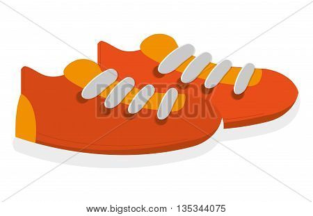 orange sneakers with white laces and soles vector illustration