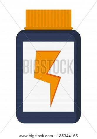 simple yellow and blue container dietary supplement with lightning bolt in the center