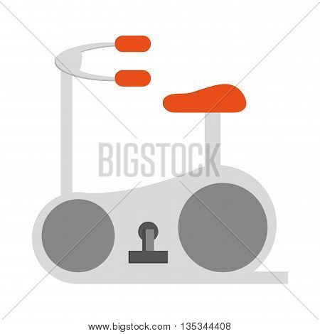simple grey and orange stationary bicycle vector illustration