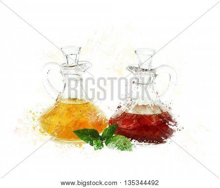 digital painting of  salad dressings in glass bottles