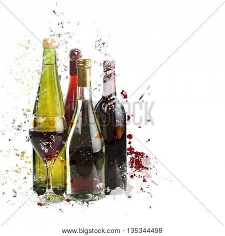 digital painting of  wine assortment