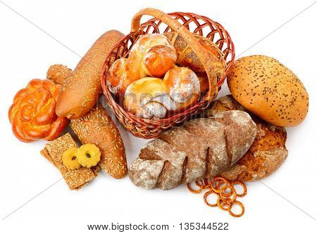 Collection of bread products isolated on white background. Bread, rolls, pastries, biscuits.
